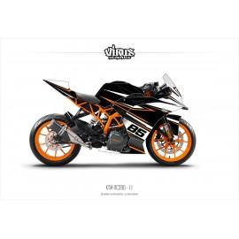 Kit déco KTM RC390 1.1 Noir Blanc Noir Orange