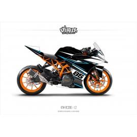 Kit déco KTM RC390 1.2 Noir Blanc Noir Bleu
