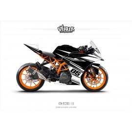 Kit déco KTM RC390 1.6 Noir Blanc Noir