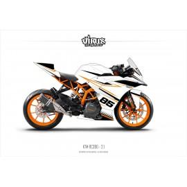 Kit déco KTM RC390 2.1 Blanc Noir Orange
