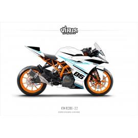 Kit déco KTM RC390 2.2 Blanc Noir Bleu
