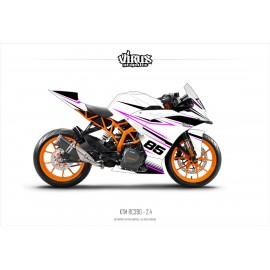 Kit déco KTM RC390 2.4 Blanc Noir Rose