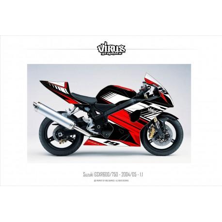 Kit déco Suzuki GSXR600 2004/05 1.1 Noir Rouge Blanc