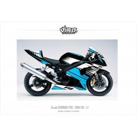 Kit déco Suzuki GSXR600 2004/05 1.2 Noir Bleu Blanc