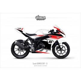 Kit déco Suzuki GSXR125 2017 2.1 Blanc Noir Rouge