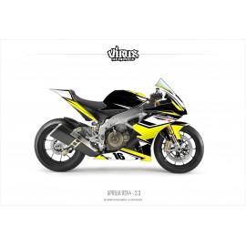 Kit déco Aprilia RSV4 3.3 Noir Jaune Blanc