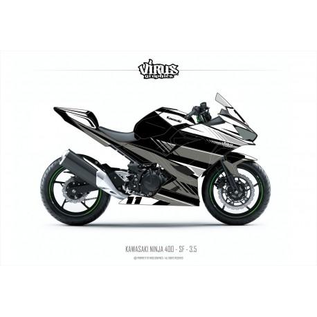 Kit déco Kawasaki Ninja 400 2018 3.5 Noir Blanc Gris pour poly Speed fiber