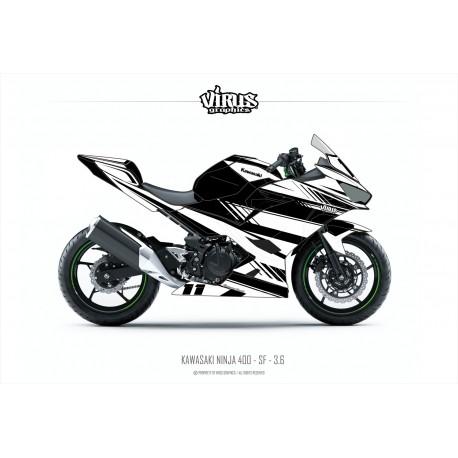 Kit déco Kawasaki Ninja 400 2018 3.6 Noir Blanc pour poly Speed fiber
