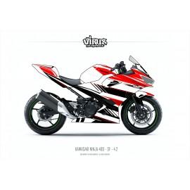 Kit déco Kawasaki Ninja 400 2018 4.2 Blanc Rouge Noir pour poly Speed fiber