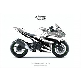 Kit déco Kawasaki Ninja 400 2018 4.4 Blanc Gris Noir pour poly Speed fiber