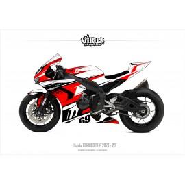 Kit déco Honda CBR1000RR-R 2020 2.2 Blanc Rouge Noir